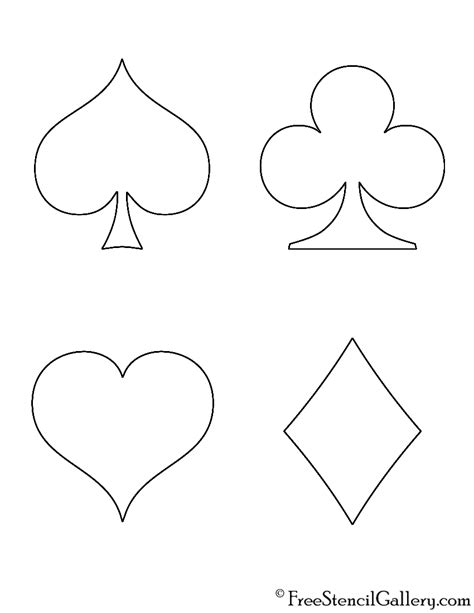 deck of cards club template card suits stencil free stencil gallery