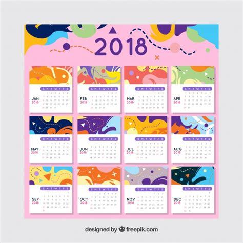 printable calendar 2018 colorful colorful abstract 2018 calendar template vector free