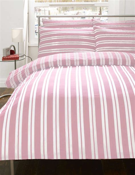 Pink And White Duvet Set pink white stripe flannelette bedding duvet