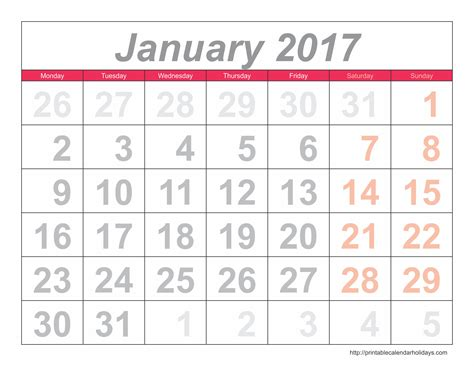 free printable calendar software printable calendar 2017 january 2017 calendar 6 templates landscape printable