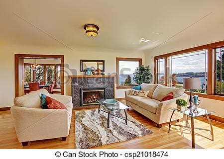 Bright Ls For Living Room by Picture Of Bright Living Room In Light Ivory Tones Living Room Csp21018474 Search Stock