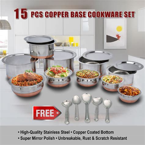 Kitchen Items Shopping India by Buy 15 Pcs Copper Base Cook Serving Set Free 5 Pcs
