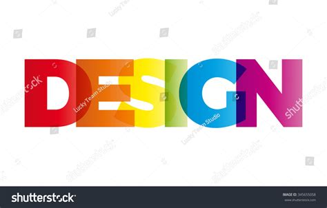 design word the word design vector banner with the text colored