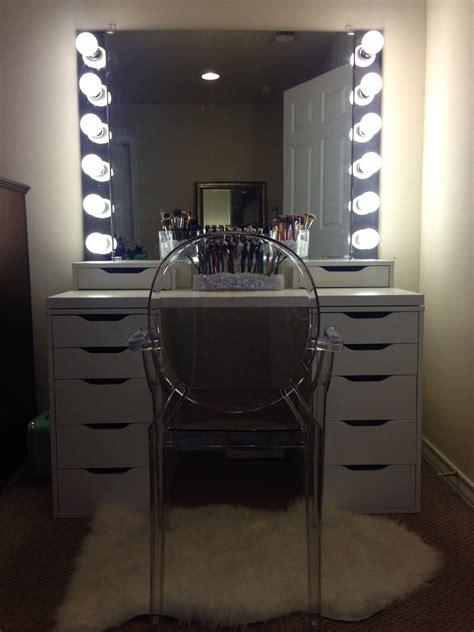 makeup mirror with lights and desk diy ikea vanity with lights ikea