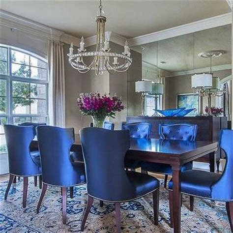 royal blue tufted dining chairs mirrored room walljpg