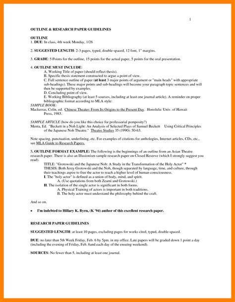 mla style research paper template research paper outline mla template mla research paper