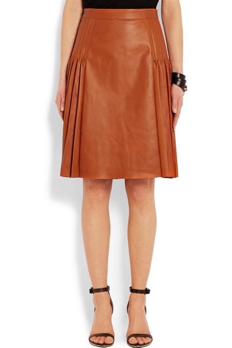 givenchy pleated leather skirt in brown lyst