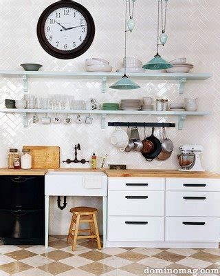 kitchen open shelves clock pendant l plates cups sink faucet the domino inspired my home contest entry kate keep