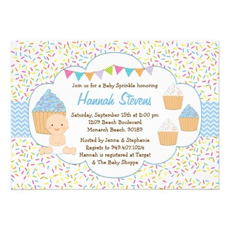 Baby Boy Sprinkle Shower by Cupcake Baby Sprinkle Shower Invitation Blue Boy 5 Quot X 7