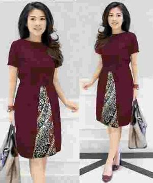 Dress Batik Merah Marun baju mini dress pendek pesta kombinasi motif batik modern