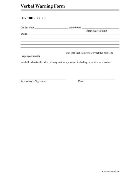 template of verbal warning best photos of verbal warning forms template employee