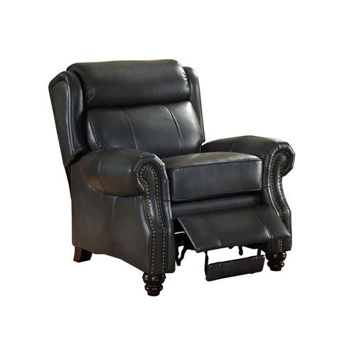 Grey Leather Recliner Ashton Traditional Genuine Grey Leather Pushback Reclining Chair