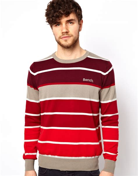 bench for men bench striped jumper in red for men lyst