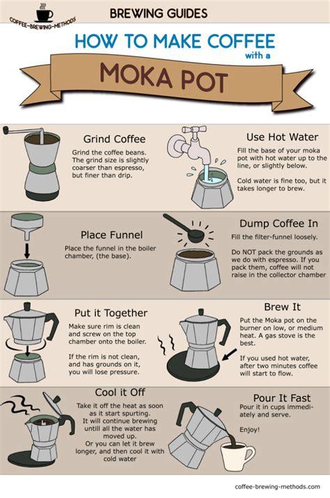 how to make a coffee how to make coffee with a moka pot infographic