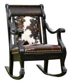 Cowhide Recliner Cowhide And Leather Rocker Rusticartistry Com Rocking