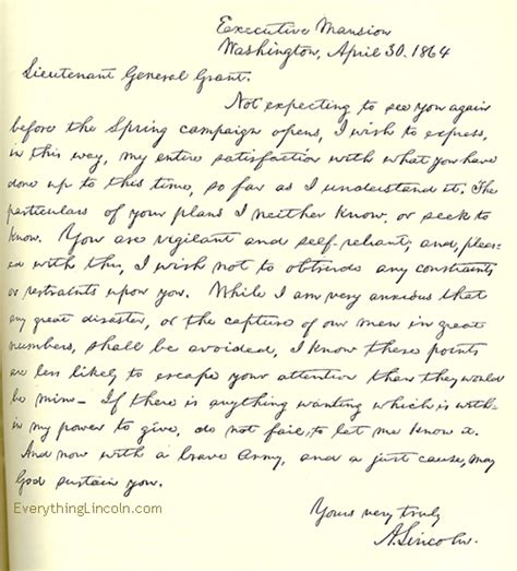 abraham lincoln letter to the abraham lincoln s god speed letter to grant