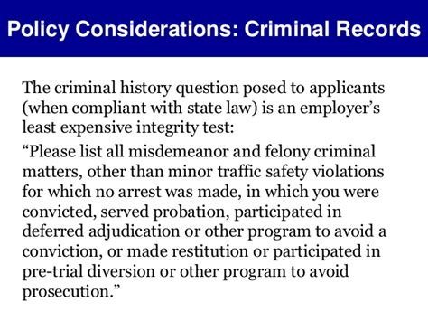 Lying On Application About Criminal Record Background Checks Policy Considerations To Avoid Discrimi