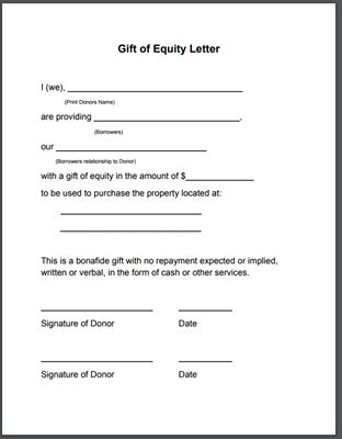 Gift Of Equity Letter Template Narsu Ogradysmoving Co Purchase Agreement With Gift Of Equity Template