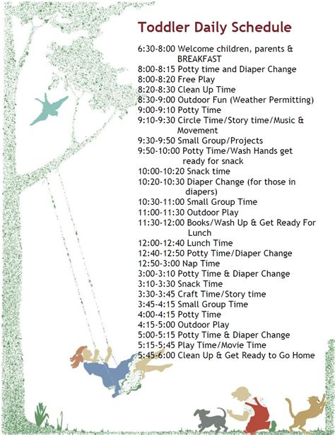 printable toddler daily schedule printable church nursery schedule template calendar