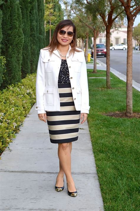 Rok Stripe Medium Skirt Murah how to rock a pencil skirt a style intereview with