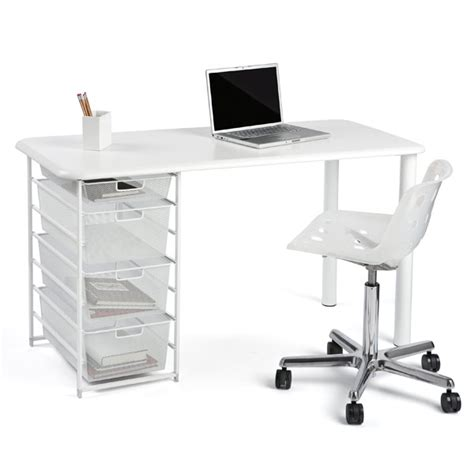 elfa mesh component desk with rounded edge the container