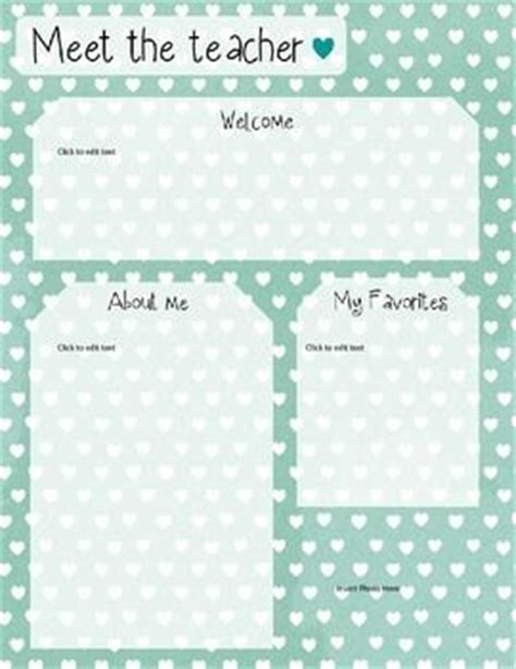 mint heart meet the teacher template editable
