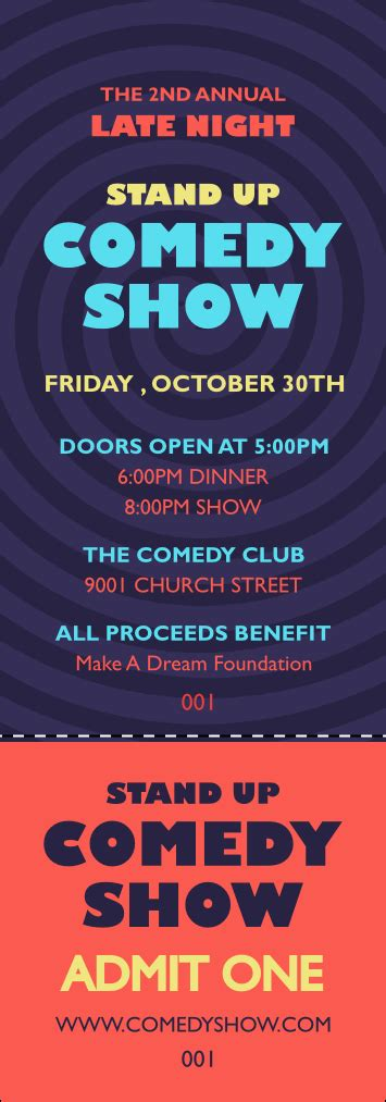 Comedy Spirals Event Ticket Comedy Show Ticket Template