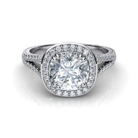 split shank cushion cut halo engagement ring