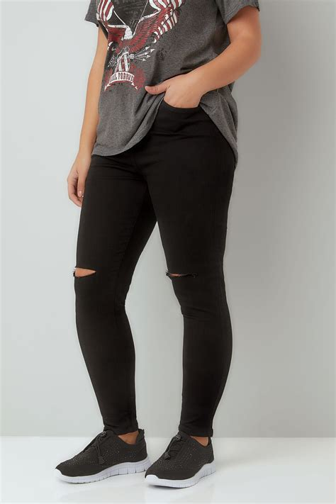 Ripped Knee Jsk 9105 Size 27 30 black ripped knee stretch plus size 16 to 30