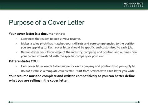 Purpose Cover Letter by Mba Career Services Center Communication Workshop Ppt