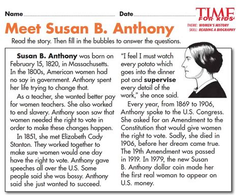 biography questions for elementary students grade 2 students read a biography of susan b anthony and