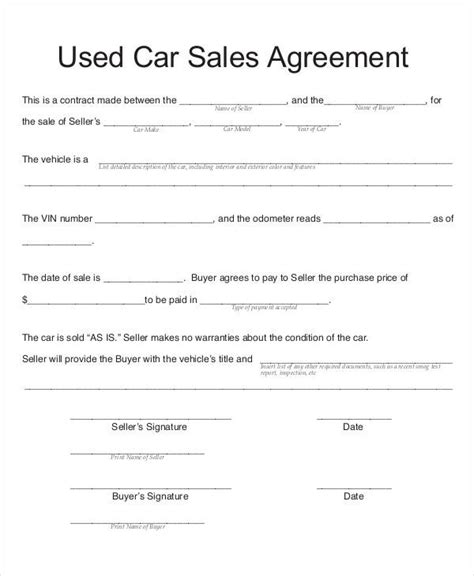automobile sales contract samples templates