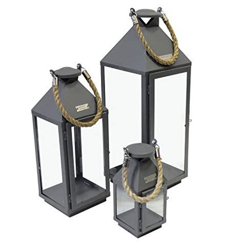 Große Glas Kerzen Laternen by 3er Set Laternen Mit Henkel H24 41 55cm Aus Metall Grau
