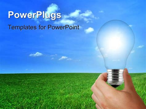 Powerpoint Template A Hand Holding The Bulb With Clouds In The Background 25082 Energy Powerpoint Template