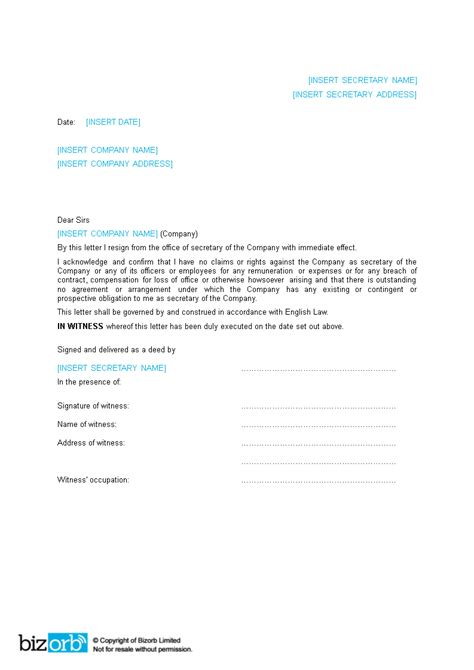 corporate secretary resignation letter word templates