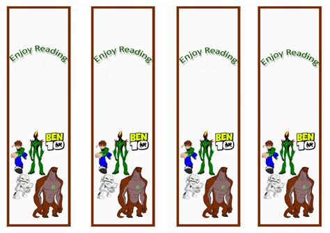 printable birthday bookmarks ben 10 bookmarks birthday printable