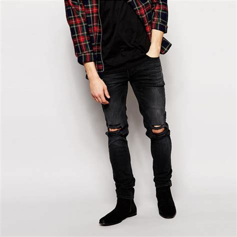 Celana Ripped H M 2015 stretch denim wash ripped knees black fit