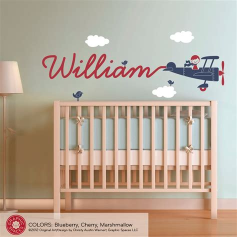 Boy Nursery Wall Decals Airplane Name Wall Decal Boy Skywriter For Baby Nursery Children