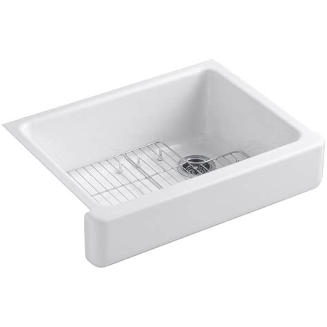 Kitchen Sink Basin Racks Kohler Whitehaven Undermount Farmhouse Apron Front Cast Iron 30 In Single Basin Kitchen Sink
