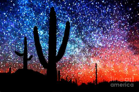 digital art abstract desert cacti and the starry night