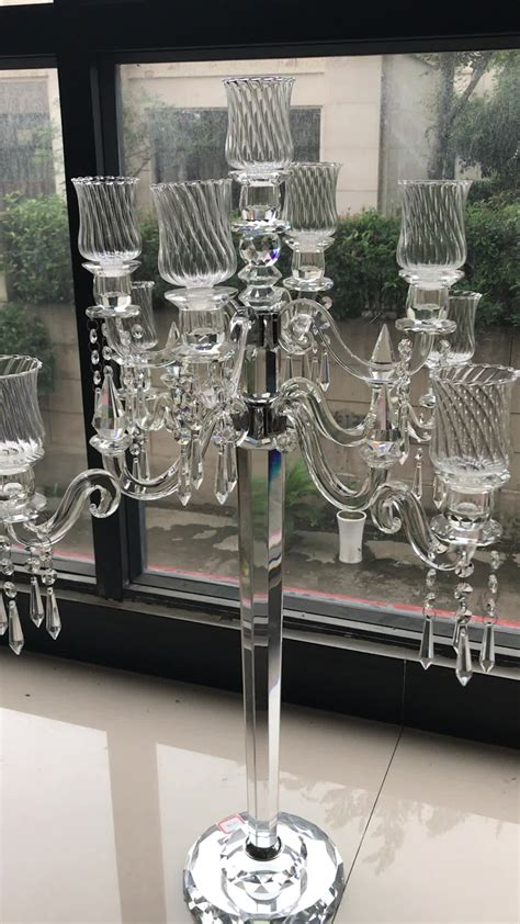 wholesale so beautiful 9 arms glass candelabras wedding