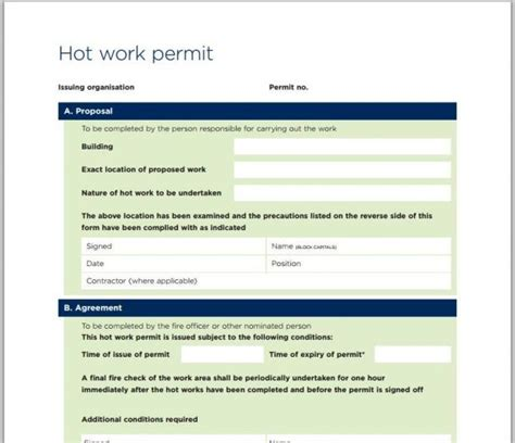 hot work permit template pictures to pin on pinterest