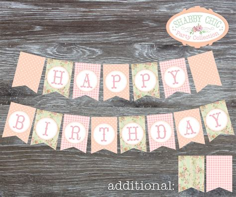 Printable Vintage Birthday Banner   instant download shabby chic happy birthday banner pennants