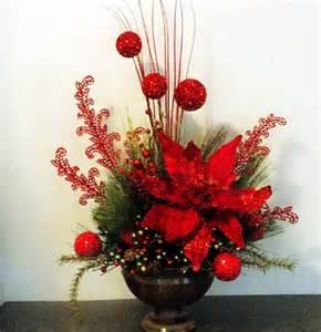 How To Make Silk Flower Arrangements In A Vase Christmas Floral Arrangement With Xl Poinsettia Glitter Balls