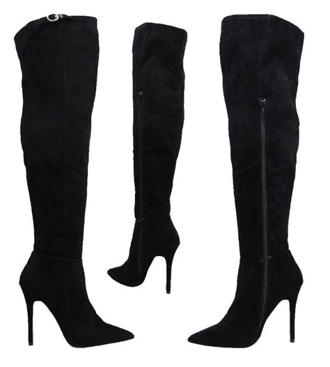 high heeled wide calf boots new black suede stiletto knee high heel wide