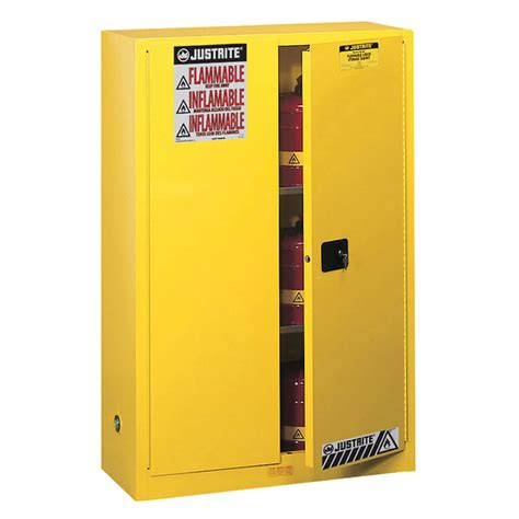 Flammable Storage Cabinet Justrite 894520 Flammable Storage Safety Cabinet 45 Gallons Self Closing Door From Cole Parmer