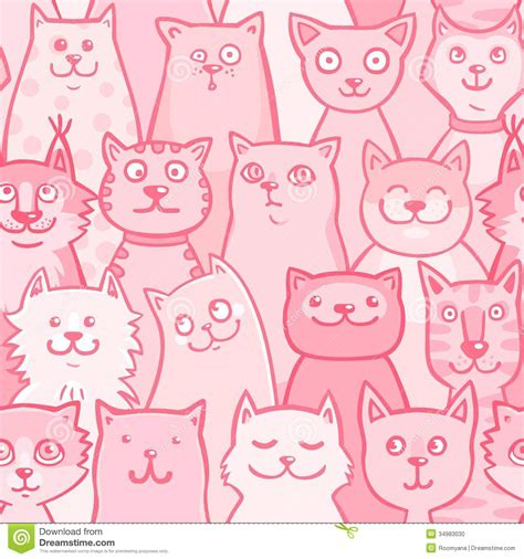 pink pattern clipart pattern pink cats stock vector illustration of