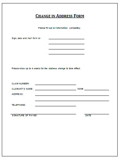 template for change of address change of address form a to z free printable sle forms