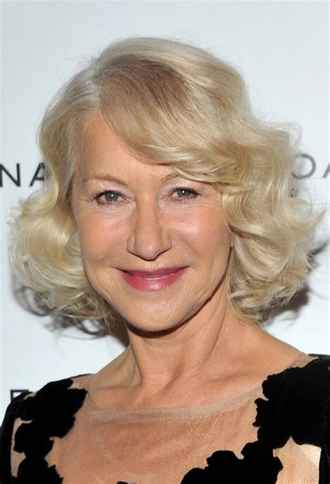 curly short bob for age 60 helen mirren layered bob hairstyle with curls for women