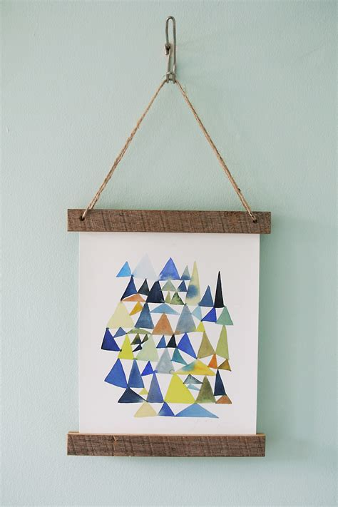 how to hang prints diy wooden slat hanging frame